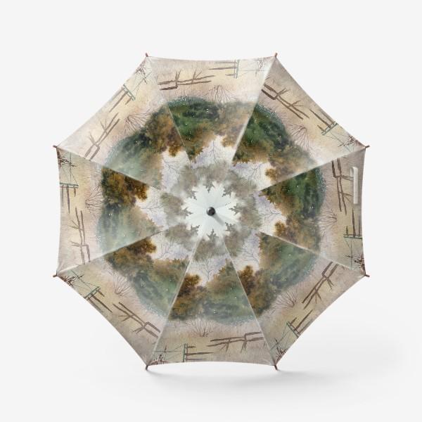 Зонт «Акварельный пейзаж, сосновый лес »
