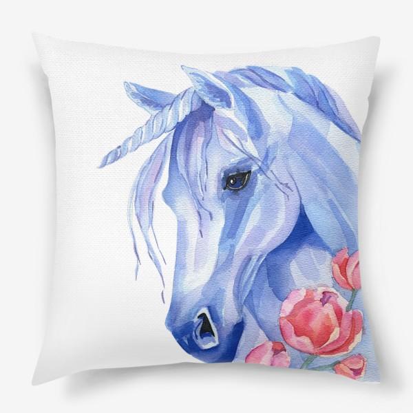 Подушка «голубой единорог»