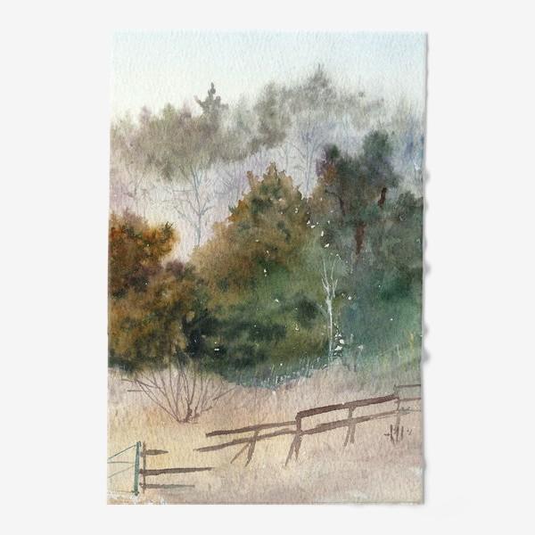 Полотенце «Акварельный пейзаж, сосновый лес »