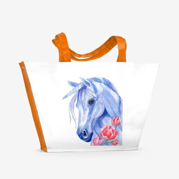 Пляжная сумка «голубой единорог»