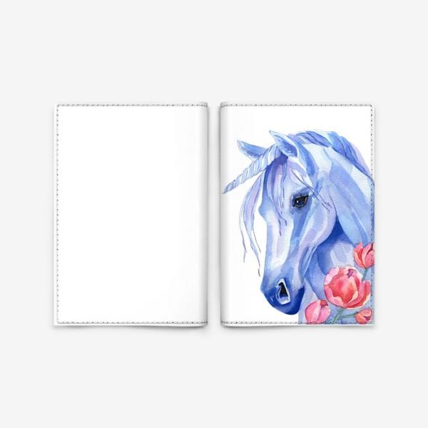 Обложка для паспорта «голубой единорог»