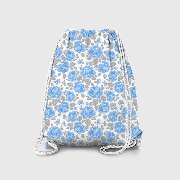 Рюкзак «Голубые розы. Акварельный паттерн»