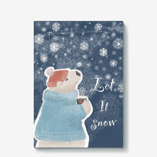 Холст «Let it snow. Белый медведь в свитере с кружкой какао.Новогодний, зимний, рождественский принт»