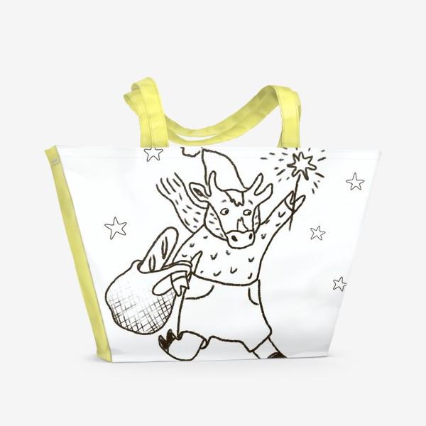 Пляжная сумка «Бык с авоськой и бенгальским огнем »
