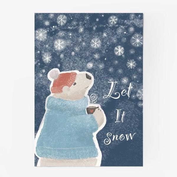 Постер «Let it snow. Белый медведь в свитере с кружкой какао.Новогодний, зимний, рождественский принт»
