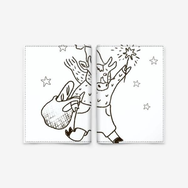 Обложка для паспорта «Бык с авоськой и бенгальским огнем »