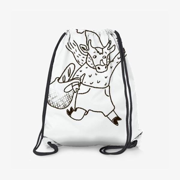 Рюкзак «Бык с авоськой и бенгальским огнем »
