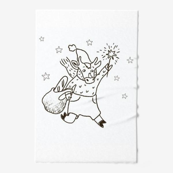 Полотенце «Бык с авоськой и бенгальским огнем »