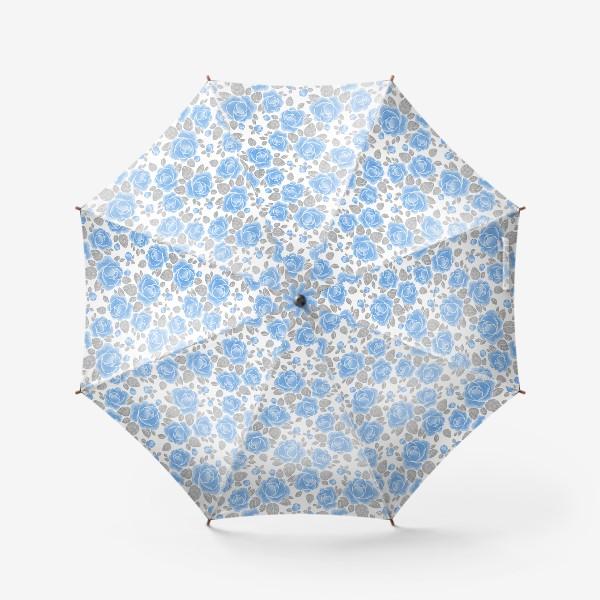 Зонт «Голубые розы. Акварельный паттерн»