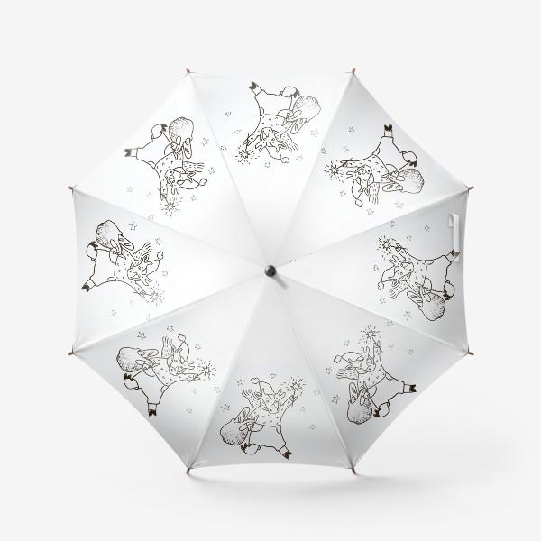 Зонт «Бык с авоськой и бенгальским огнем »