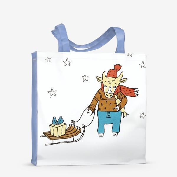 Сумка-шоппер «Бык с санками и подарками, в шапке, свитере и штанах. Новогодний символ. Цветной.»