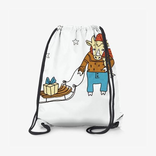 Рюкзак «Бык с санками и подарками, в шапке, свитере и штанах. Новогодний символ. Цветной.»