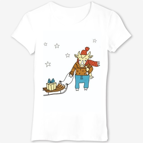 Футболка «Бык с санками и подарками, в шапке, свитере и штанах. Новогодний символ. Цветной.»
