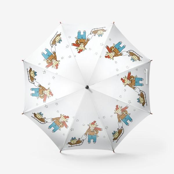 Зонт «Бык с санками и подарками, в шапке, свитере и штанах. Новогодний символ. Цветной.»