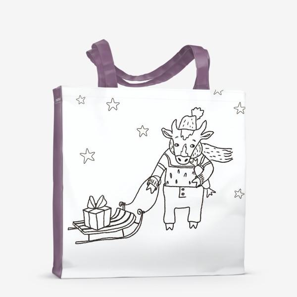 Сумка-шоппер «Бык с санками и подарками, в шапке, свитере и штанах. Новогодний символ.»