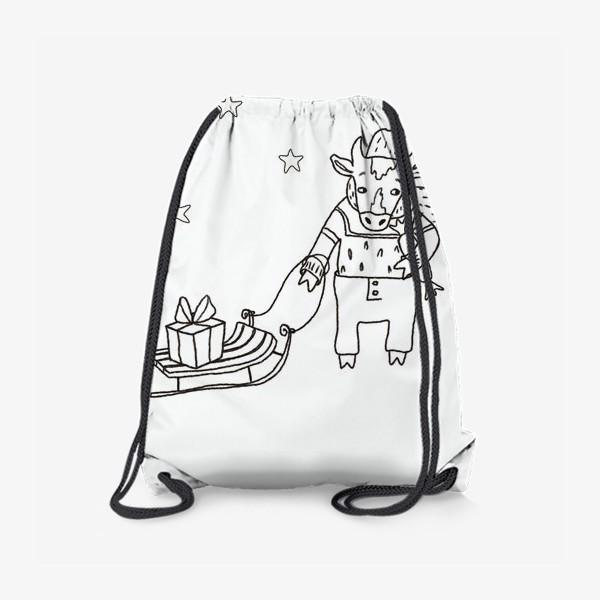 Рюкзак «Бык с санками и подарками, в шапке, свитере и штанах. Новогодний символ.»