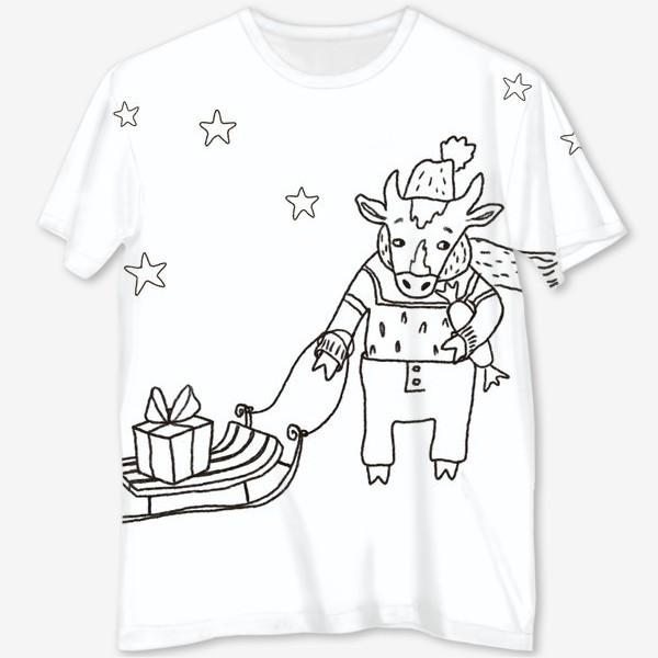 Футболка с полной запечаткой «Бык с санками и подарками, в шапке, свитере и штанах. Новогодний символ.»