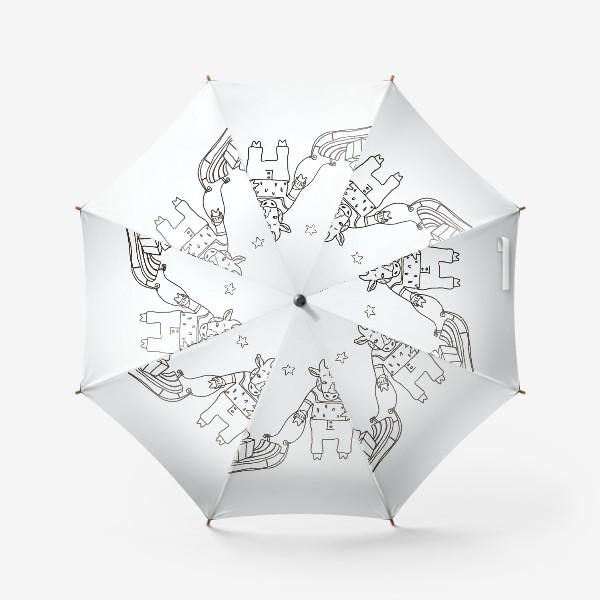 Зонт «Бык с санками и подарками, в шапке, свитере и штанах. Новогодний символ.»