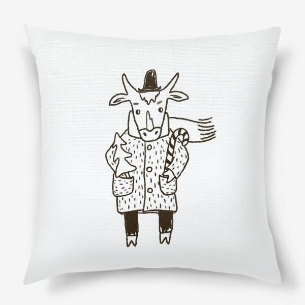 Подушка «Бык в пальто и шляпе с ёлкой»