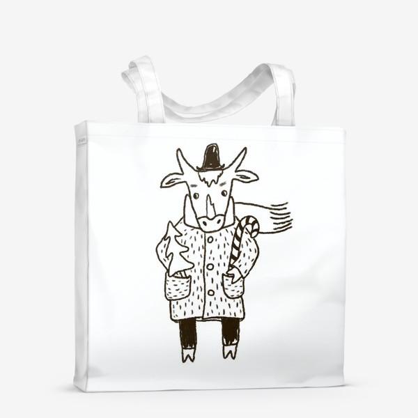 Сумка-шоппер «Бык в пальто и шляпе с ёлкой»