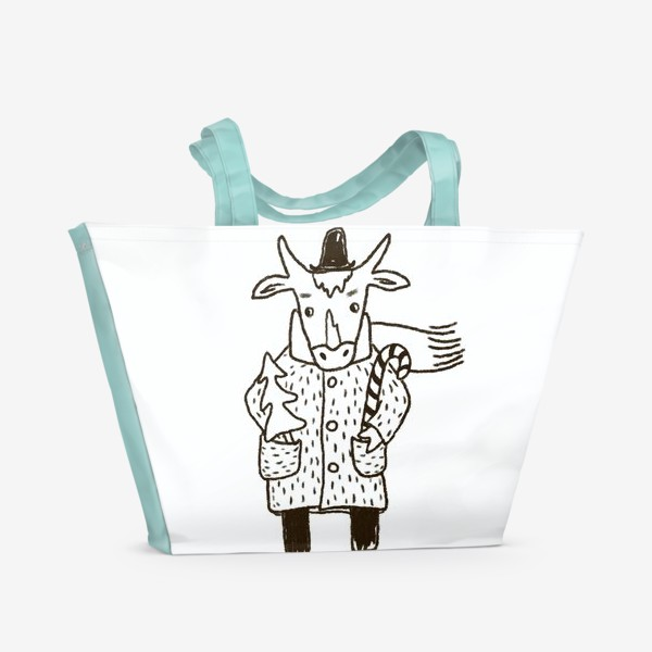 Пляжная сумка «Бык в пальто и шляпе с ёлкой»