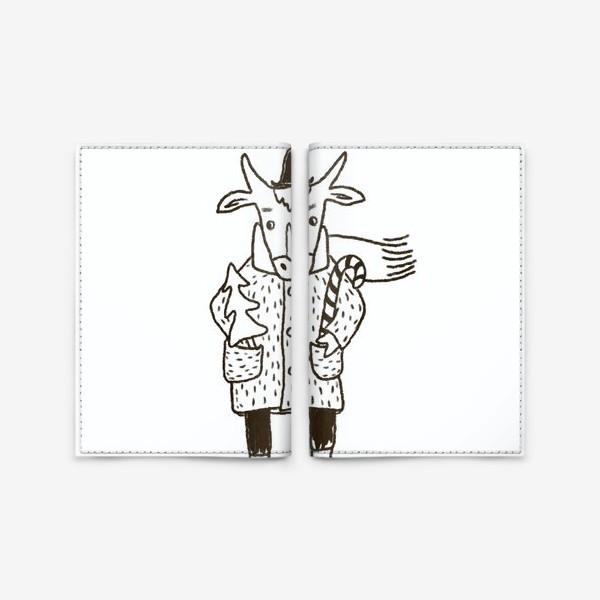 Обложка для паспорта «Бык в пальто и шляпе с ёлкой»