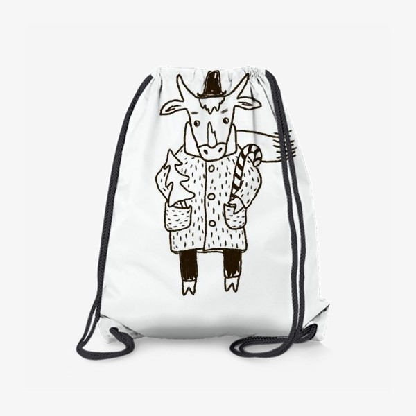 Рюкзак «Бык в пальто и шляпе с ёлкой»