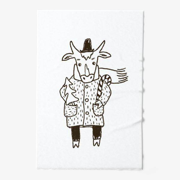 Полотенце «Бык в пальто и шляпе с ёлкой»