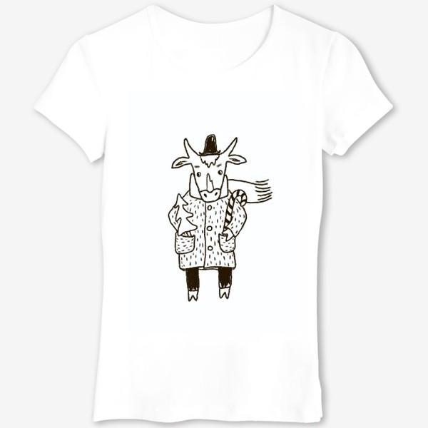 Футболка «Бык в пальто и шляпе с ёлкой»