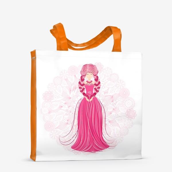 Сумка-шоппер «Знак зодиака Дева и цветочная мандала»
