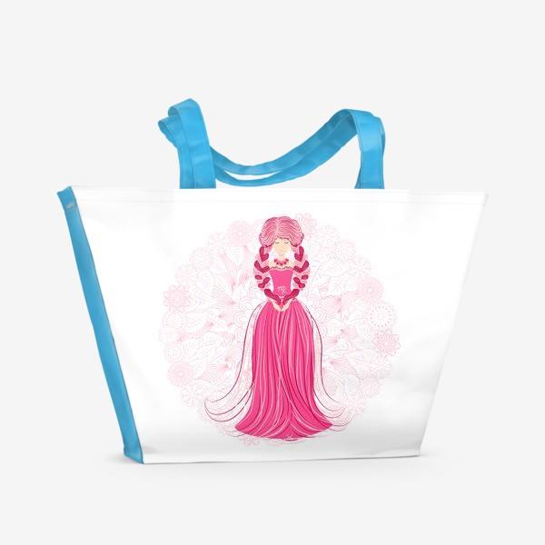 Пляжная сумка «Знак зодиака Дева и цветочная мандала»