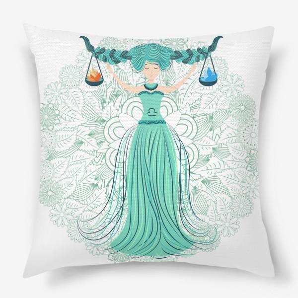Подушка «Знак зодиака Весы и цветочная мандала»