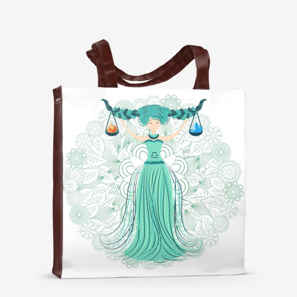 Сумка-шоппер «Знак зодиака Весы и цветочная мандала»