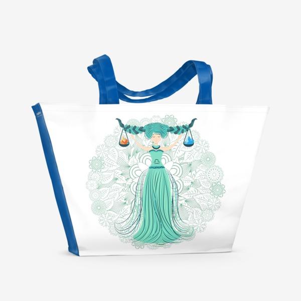 Пляжная сумка «Знак зодиака Весы и цветочная мандала»