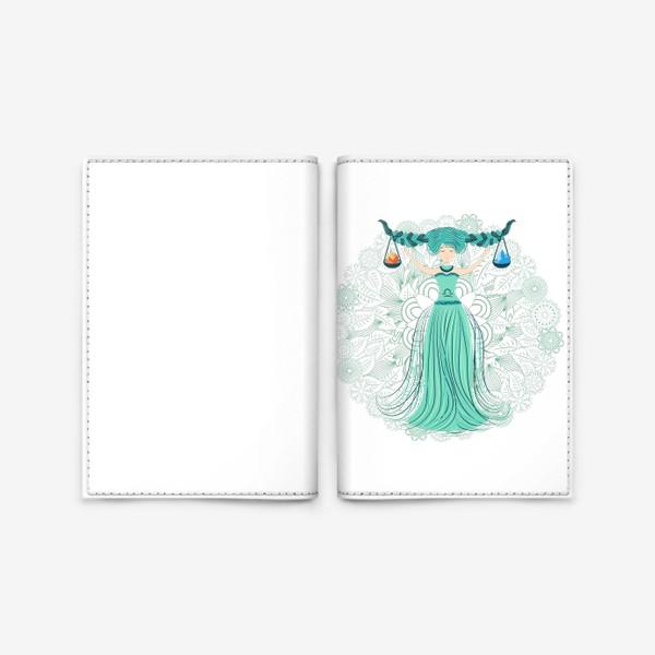 Обложка для паспорта «Знак зодиака Весы и цветочная мандала»