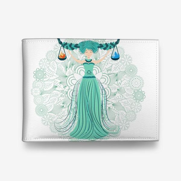 Кошелек «Знак зодиака Весы и цветочная мандала»