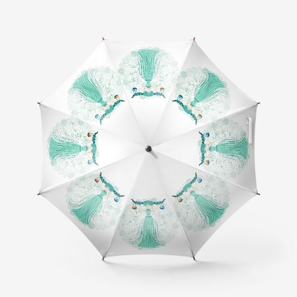 Зонт «Знак зодиака Весы и цветочная мандала»
