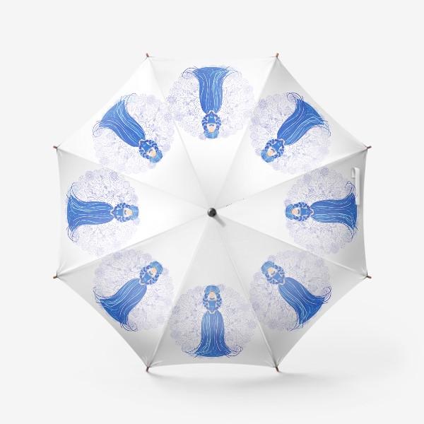 Зонт «Знак зодиака Дева и цветочная мандала»