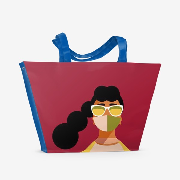 Пляжная сумка «девушка в маске»