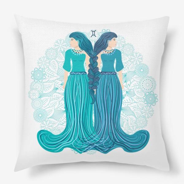 Подушка «Знак зодиака Близнецы и цветочная мандала»