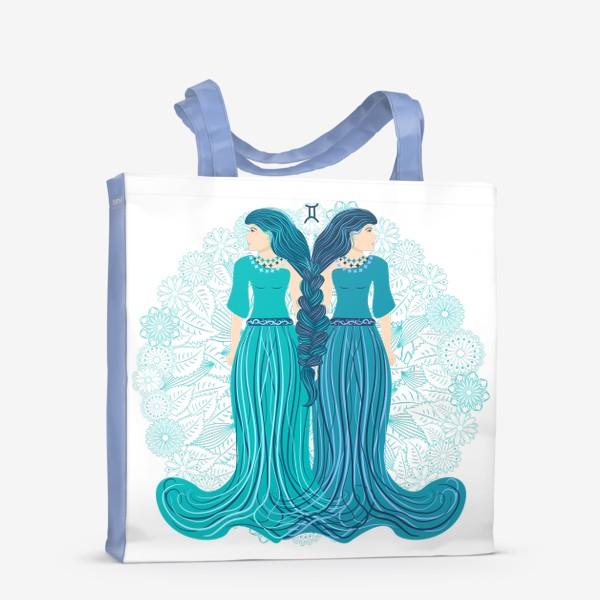 Сумка-шоппер «Знак зодиака Близнецы и цветочная мандала»
