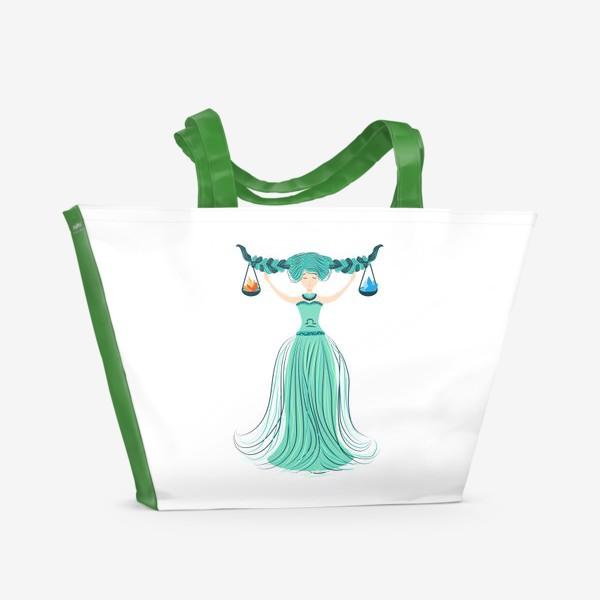Пляжная сумка «Знак зодиака Весы, огонь и вода»