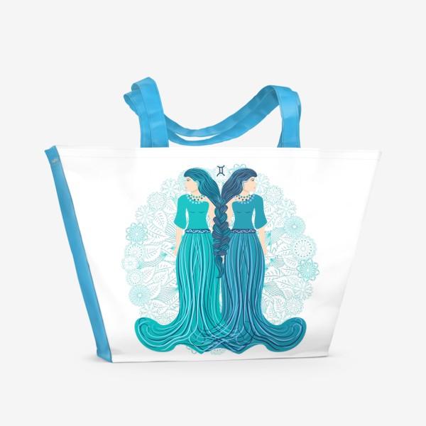 Пляжная сумка «Знак зодиака Близнецы и цветочная мандала»