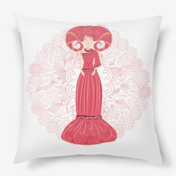 Подушка «Знак зодиака Овен и цветочная мандала»
