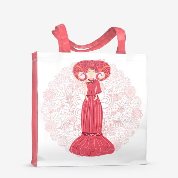 Сумка-шоппер «Знак зодиака Овен и цветочная мандала»