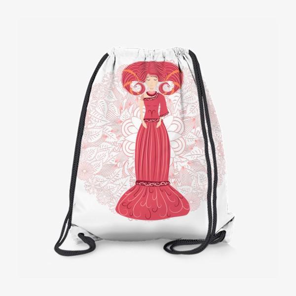 Рюкзак «Знак зодиака Овен и цветочная мандала»