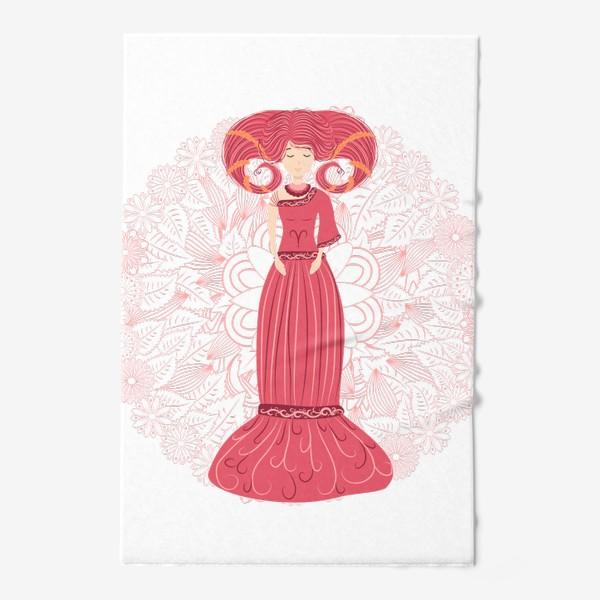 Полотенце «Знак зодиака Овен и цветочная мандала»