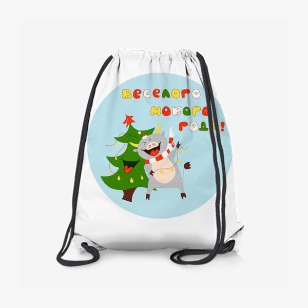 Рюкзак «Бык с елкой Рождественский бык с гирляндой Смешной новогодний персонаж»