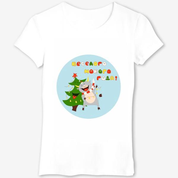 Футболка «Бык с елкой Рождественский бык с гирляндой Смешной новогодний персонаж»
