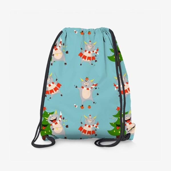 Рюкзак «Новогодние быки на голубом фоне Паттерн с елками, мандаринами и символом 2021 года»